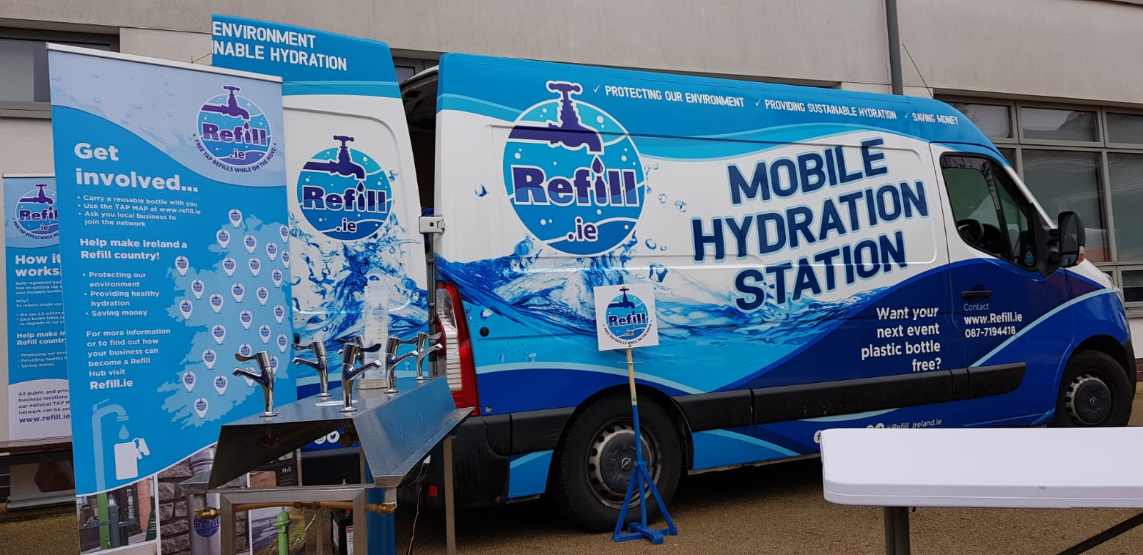 Mobile Hydration Station Van provides water fountains for refilling reusable water bottles