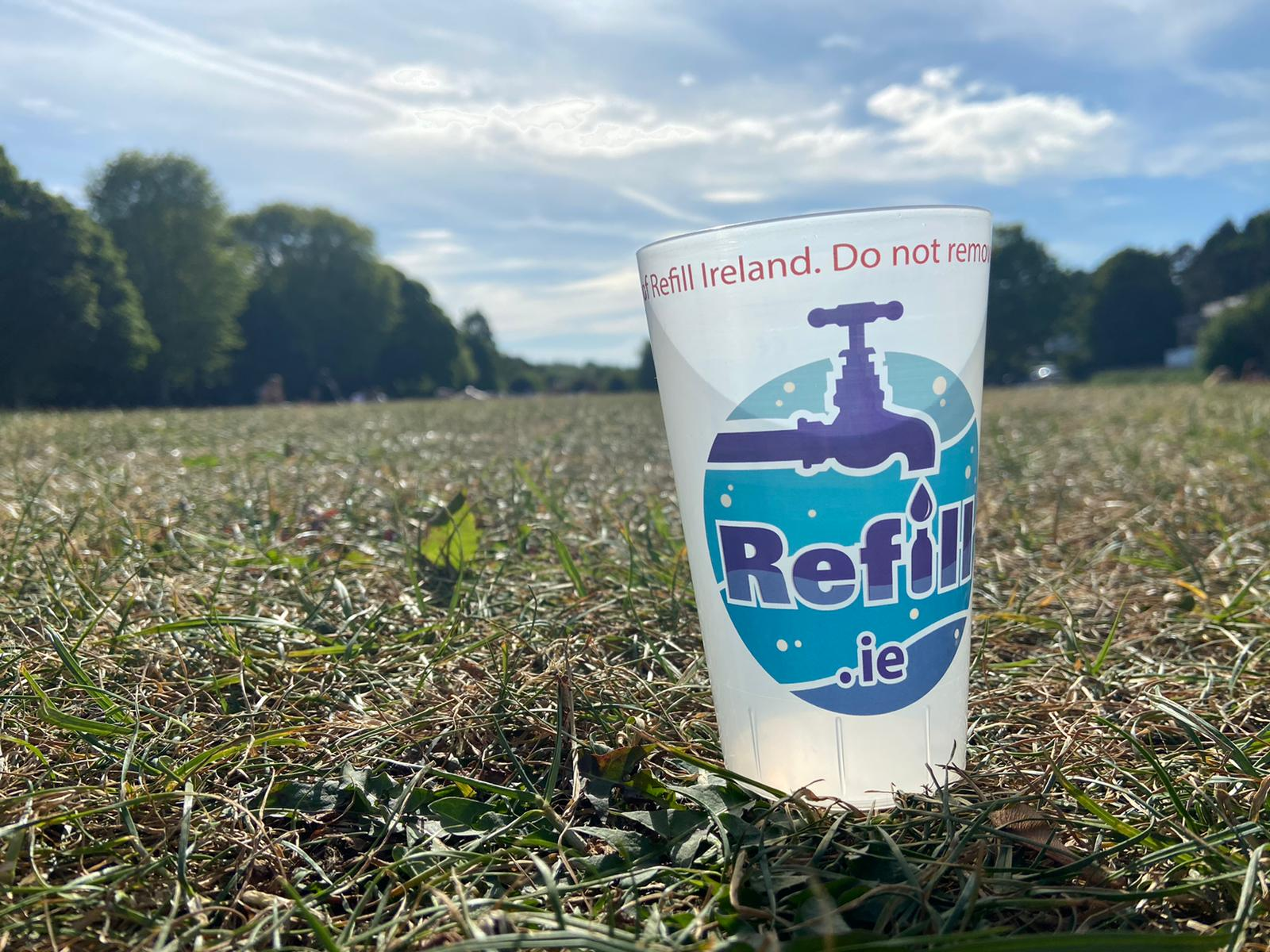 Refill.ie branded reusable cup for drinking water