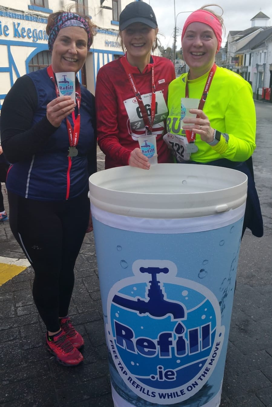 Refill.ie bin for used reusable water cups at 10k race event
